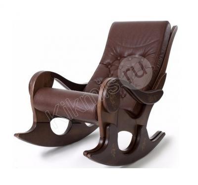 """Деревянное кресло-качалка """"Грация"""" орех/нат кожа коричневая (с росписью),кресло качалка купить недорого,кресло качалка из ротанга,кресло качалка магазин, недорогое кресло качалка в москве,купить кресло качалку в москве недорого, кресло качалка икеа,кресло качалка цена,кресло качалка модели,харчо качалка кресло,"""