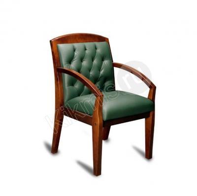 Кресло для посетителей Конгресс нат кожа зеленая/дерево,